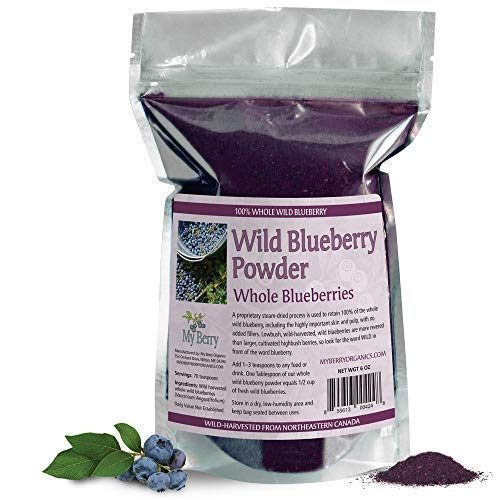 Wild Blueberry Powder-100% Whole Berry; Skin, Pulp and Fiber, 6oz, Not A Concentrate, Juice Powder, Or European Bilberry