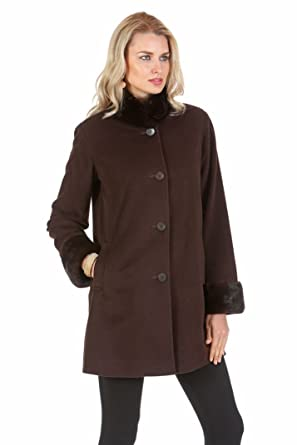 a09237438 Madison Avenue Mall Mahogany Mink Fur Collar 100% Cashmere Jacket For Women  (6)
