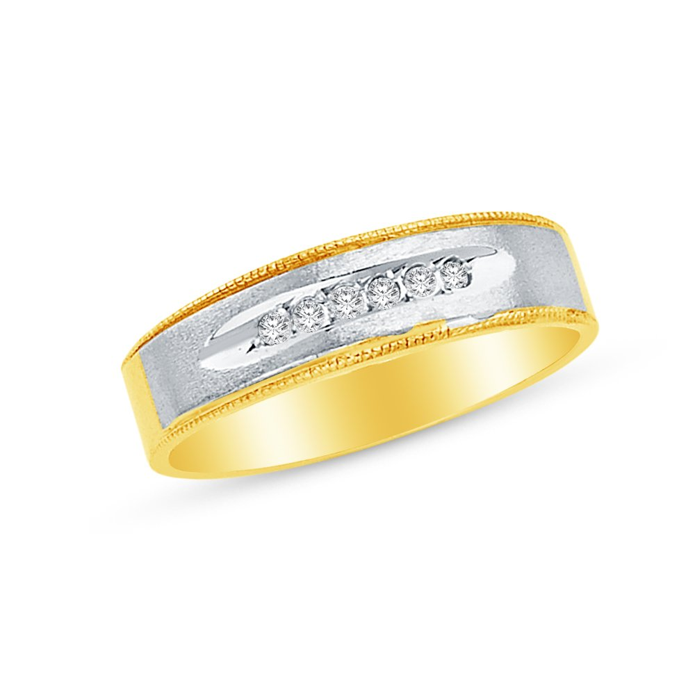 Mens Solid 14k Two 2 Tone White and Yellow Gold Wedding Band CZ Cubic Zirconia