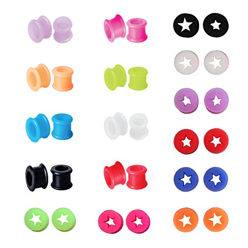 PC Gauges Kit Ear Stretching Set Star Double Flare Silicone Plugs 2G-6mm (Star Tunnel)