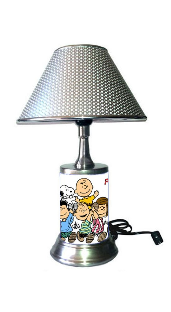 Peanuts Comic Strip Lamp with Metallic Color Shade, Charlie Brown, Snoopy