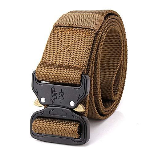 JUIHUGN Nylon Belt Men Army Tactical Belt Military SWAT Combat Belts Knock Off Emergency Survival Waist Tactical Gear Khaki 125cm