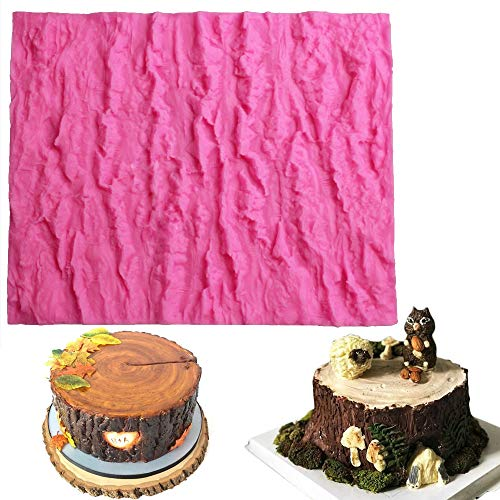 Fondant Impression Mat, Tree Bark texture Design- Silicone-Cake Decorating Supplies for Cupcake Wedding Cake Decoration by Palker Sky