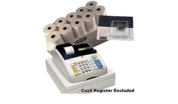eposbits® marca 20 rollos + 1 x de tinta para máquina de escribir Olivetti ecr7100 ECR 7100 Caja registradora: Amazon.es: Oficina y papelería