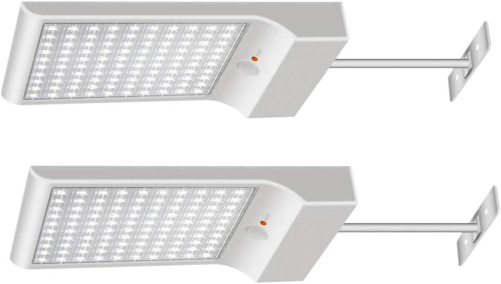 Luces Solares【1200lm 5200mAh Potente Versión 2 Piezas】100 LED Luz Solar Exterior 3 Modos Foco Solar con Sensor de Movimiento 120° Lámparas Solares Para Jardin , Garaje, Pared - Blanco Frío 6000K