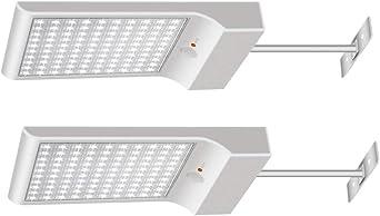 Luces Solares【1200lm 5200mAh Potente Versión 2 Piezas】100 LED Luz Solar Exterior 3 Modos Foco Solar con Sensor de Movimiento 120° Lámparas Solares Para Jardin , Garaje, Pared - Blanco Frío 6000K: Amazon.es: Iluminación