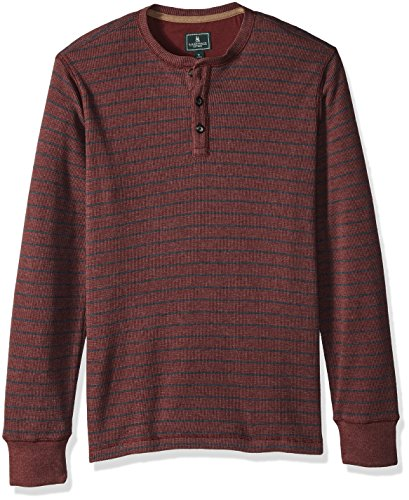 G.H. Bass & Co. Men's Textured Striped Long Sleeve Crew Neck Shirt