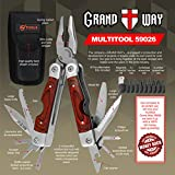 Best Wood Handle Multi-Tool 23-in-1 with Knife and Pliers - Utility Tool with 9 Attachable Bits - Good for Camping, Hunting, Survival, Hiking and Outdoor Activities