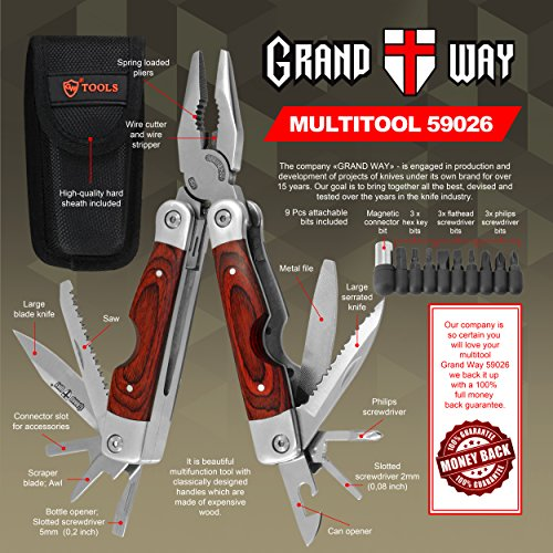 Best-Wood-Handle-Multi-Tool-23-in-1-with-Knife-and-Pliers-Utility-Tool-with-9-Attachable-Bits-Good-for-Camping-Hunting-Survival-Hiking-and-Outdoor-Activities