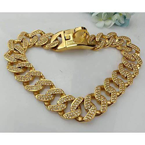 MUJING 32 mm Wide Hip Hop Gold Tone Cut Curb Cuban Link 316L Stainless Steel Dog Choke Chain Collar 45-75CM,XXXXL by MUJING (Image #1)