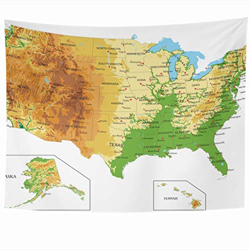 Ahawoso Tapestry 60x50 Inch Mississippi California United States America Physical Map Abstract Nevada Relief Idaho Philadelphia Michigan Tapestries Wall Hanging Home Decor Living Room Bedroom Dorm (Idaho Relief Map)