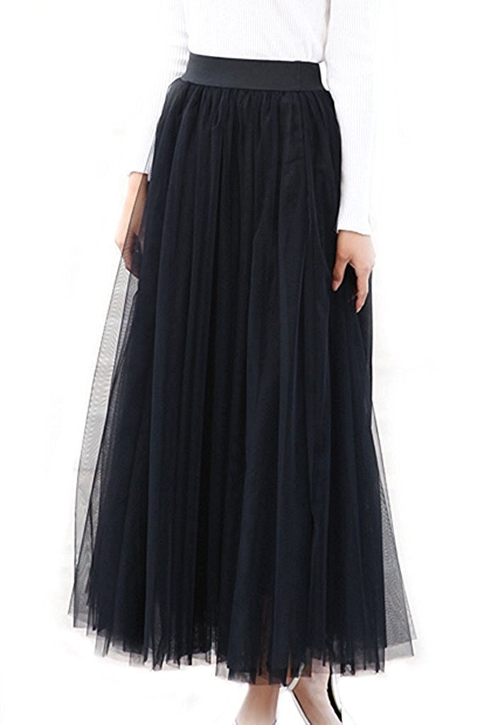 FOLWEP Women's A Line Elastic Waist Layered Mesh Tulle Long Maxi Skirt M/L Black