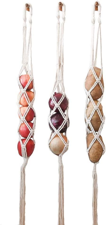 Macrame Hanging Fruit Basket Potato Storage Fruit Storage Onion Storage Kitchen Organizer Wall Hanging Produce Storage Boho Decor Set of 3 by Vintage 928