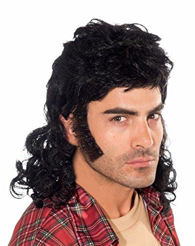 Forum Novelties Men's 90's Mullet Wig, Black, One (Black Mullet Wig)