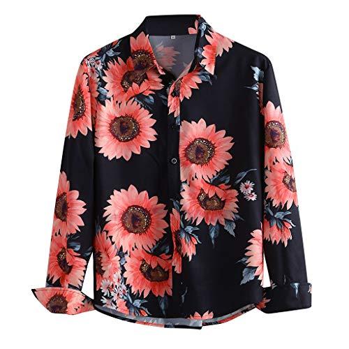 Men's Shirt,QueenMMMen Floral Dress Shirts Long Sleeve Casual Button Down Shirts Casual Regular Fit Hawaiian Tops Blouse