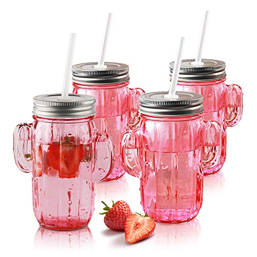 Cactus Shape Glass Sipper With Metal Lids & Plastic Straws - Set of 4 15.5 oz. Retro Pink Mugs - Home and Party Drinkware for Water, Milkshake, Fruit Juice or Sangria - Sipper 4 Piece Tumbler