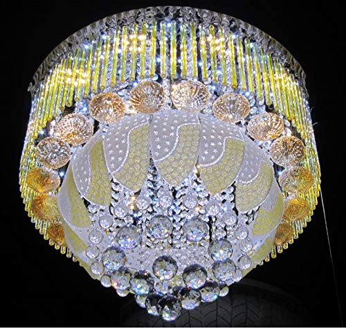 WHITERAY Antique Crystals Chandelier with Inbuilt Bluetooth, MP3 Player , Color Changing LED (White and Warm White, 600 mm)