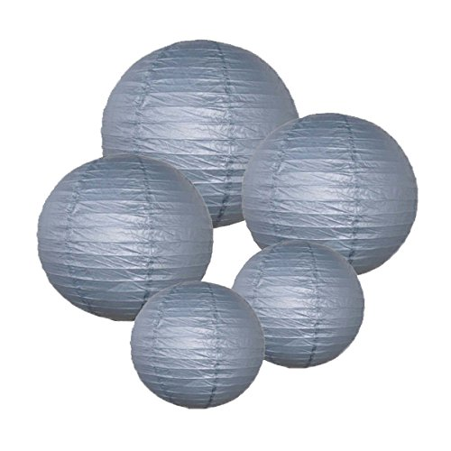 Just Artifacts (SLATE GREY) Chinese/Japanese Paper Lanterns (Assorted: (2) 8inch, (2) 12inch, (1) 16inch) - Click for more colors!