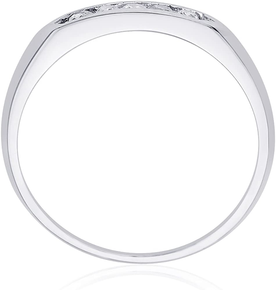 Size-8 Diamond Wedding Band in Sterling Silver G-H,I2-I3 1//8 cttw,
