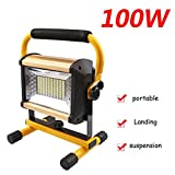 100W Rechargeable LED Work Light,Portable Flood Light, IP65 Waterproof Camping Outdoor Emergency Hand Work Lamp