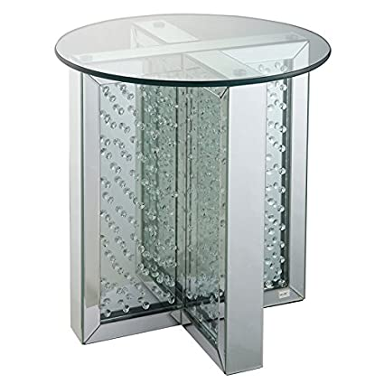 Genial Acme Nysa 21u0026quot; Round Glass Top Mirrored End Table
