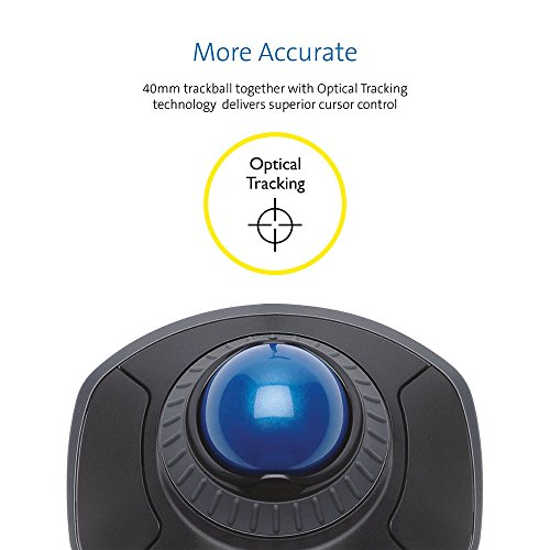 Kensington Orbit Mouse - Wired Ergonomic Trackball Mouse with Scroll Ring, Compatible with Windows & macOS - Sapphire Blue (K72337EU)