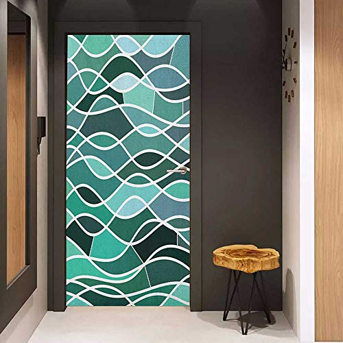 - Toilet Door Sticker Seafoam Stained Glass Pattern with Wavy Lines and Mosaic Abstract Geometric Composition Glass Film for Home Office W17.1 x H78.7 Multicolor