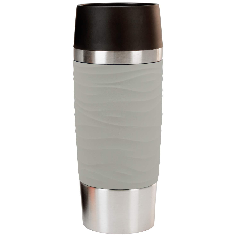 Geschenke 24 Emsa Thermobecher selbst gestalten (Pudergrau) -  personalisiertes Geschenk für Männer und Frauen - Travel Mug mit Namen  gravieren