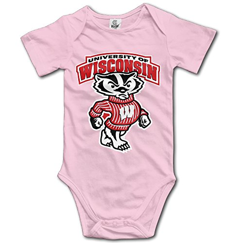 Wisconsin Badgers Pink Cartoon Short Sleeves Variety Baby Onesies Body Suits For Babies Size 18 Months]()