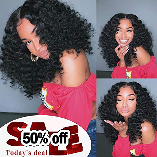 10A Brazilian Hair Bundles Deep Wave 3 Bundles with Closure, Unprocessed Brazilian Virgin Hair Deep Curly Remy Human Hair Weave Bundles and Closure (12 14 16+10 closure)