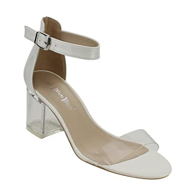 f727ef218cd Nature Breeze FI38 Women s Lucite Chunky Heel Ankle Strap Dress Sandals  White