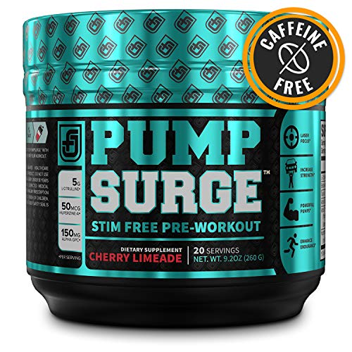 Anabolic Pump - PUMPSURGE Caffeine-Free Pump & Nootropic Pre Workout Supplement, Non Stimulant Preworkout Powder & Nitric Oxide Booster,20 Servings, Cherry Limeade, 9.2 OZ