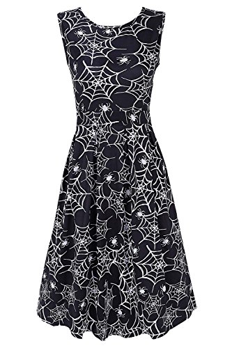 Spider Witch Dress - DREAGAL Ladies Spider Web and Spider Printed Halloween Swing Casual Dress Medium