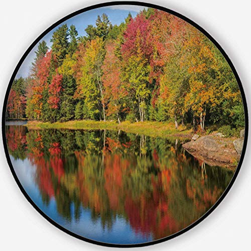 Autumn Foliage Reflections in Pond on a Sunny Fall Day in New England Colorful Round Mat, Cute Floor Mat,043897 for Kid's Room,6'Round (Best Places To See Fall Foliage In New England)