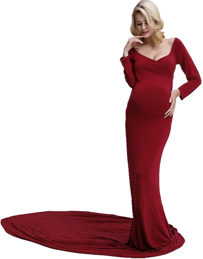 D J Don Judy Maternity Photoshoot Dress Womens Off Shoulder Long Sleeve Elegant Fitted Gown Plus Size Maternity Dresses For Photography Wine Red At Amazon Women S Clothing Store