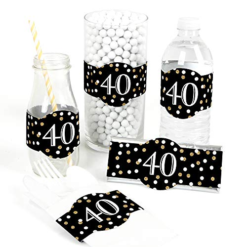 (Adult 40th Birthday - Gold - DIY Party Supplies - Birthday Party DIY Wrapper Favors & Decorations - Set of 15)