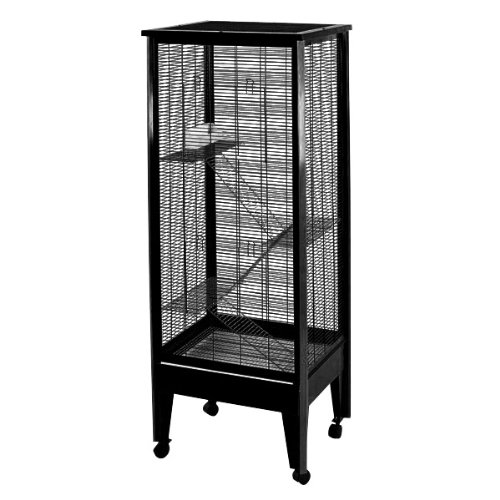 A&E Cage Co Medium 4 Level Small Animal Cage on Casters, Black by A&E Cage Co.