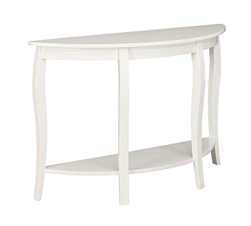 MUSEHOMEINC Modern Fashion Style Wood Half Moon Console Table with Curved Legs, Console Table with Bottom Shelf,White Finish
