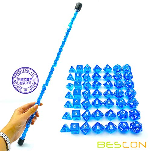 Bescon 49pcs Gem Blue Mini Polyhedral Dice Set in Long Tube, Sapphire Mini Dungeons and Dragons RPG Dice 7X7pcs, Long Stick Set