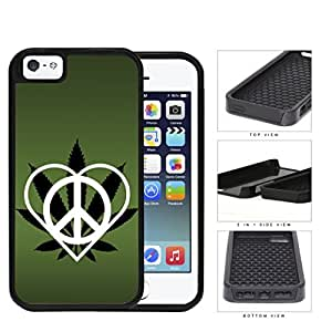 Peace Love Weed Dark Green 2-Piece Dual Layer High Impact Rubber Silicone Cell Phone Case Apple iPhone 5 5s