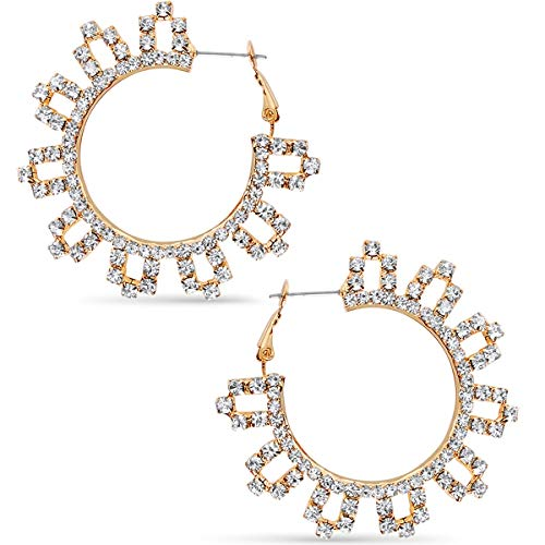 (Humble Chic Rhinestone Hoop Earrings - Extra Large Simulated Diamond Flower CZ Crystal Statement Loops, Gold-Tone Flower - 2 inch, Medium, Hypoallergenic )