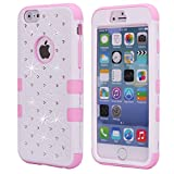 iPhone 6S Plus Case, KAMII 3 Layers Verge Hybrid Soft Silicone Hard Plastic Triple Quakeproof Drop Resistance Protective Case Cover for Apple iPhone 6/6S Plus (White+Pink)