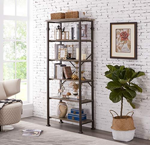 Hombazaar 6-Tier Tall Bookshelf, Vintage Industrial Metal Bookcase Display Rack and Storage Organizer for Living Room, Grey Oak