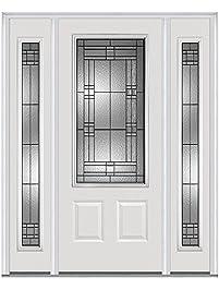 National Door Company Z021527r 3 4 Lite 2 Panel Roman Decorative Glass Fiberglass Smooth