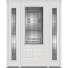 "National Door Company 3/4 Lite 2-Panel Roman Decorative Glass Fiberglass Smooth Primed 36""x80"" Sidelites"