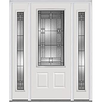 Ordinaire National Door Company 3/4 Lite 2 Panel Roman Decorative Glass Fiberglass  Smooth Primed