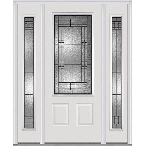 "National Door Company Z021528L 3/4 Lite 2-Panel Roman Decorative Glass Fiberglass Smooth Primed 36""x80"" Left Hand In-swing Prehung Front Door with 14"" Sidelites"
