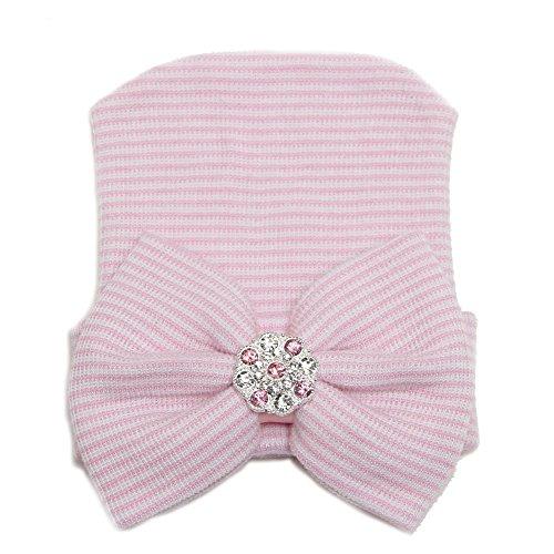 DANMY Big Bow Sparkle Gem Baby Girl Hat Newborn Knitting hat Set Head (Pink)