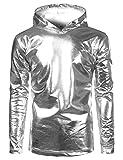 SOWTEE Mens Metallic Shiny Christmas Nightclub Style Pullover Hoodie Small Silver