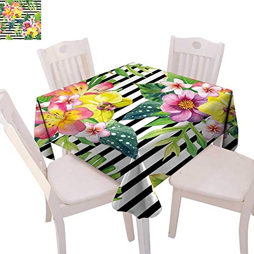 cobeDecor Floral Printed Tablecloth Bouquet with Lily Dahlia Palm Begonia Leaves Orchid Flowers on a Striped Background Flannel Tablecloth 36